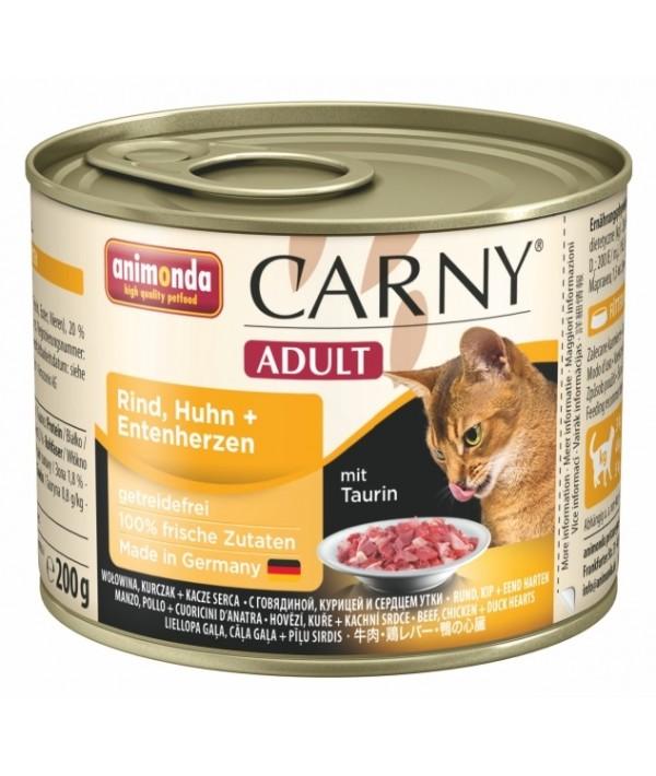 Animonda Carny Adult - karma mokra dla kotów z wołowiną, kurczakiem i sercami kaczymi 200 g