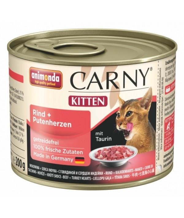 Animonda Carny Kitten - karma mokra dla kociąt z wołowiną i sercami indyczymi 200 g