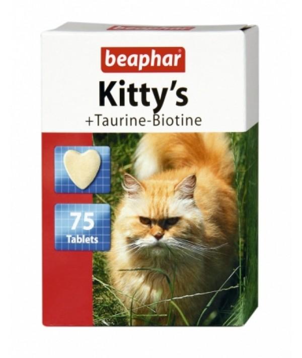 Beaphar Kitty's Taurine-Biotine - przysmak witaminowy z tauryną i biotyną 75 tabletek